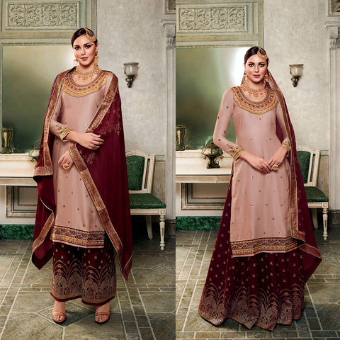 LT ALMOND BROWN-MAROON SATIN & BANARASI SILK UNSTITCHED PATIALA SALWAR KAMEEZ SUIT DRESS MATERIAL HEAVY EMBR LADIES DEN