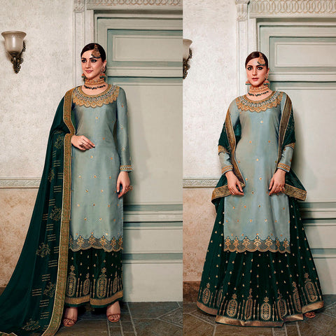 PALE GRAY GREEN-DARK TEAL SATIN & BANARASI SILK UNSTITCHED PATIALA SALWAR KAMEEZ SUIT DRESS MATERIAL HEAVY EMBR LADIES DEN