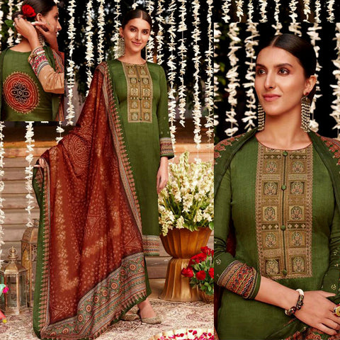 OLIVE GREEN KASHMIRI EMBR SATIN COTTON UNSTITCHED SALWAR KAMEEZ SUIT BROWN BANDHINI STYLE PRINTED DUPATTA DRESS MATERIAL LADIES DEN