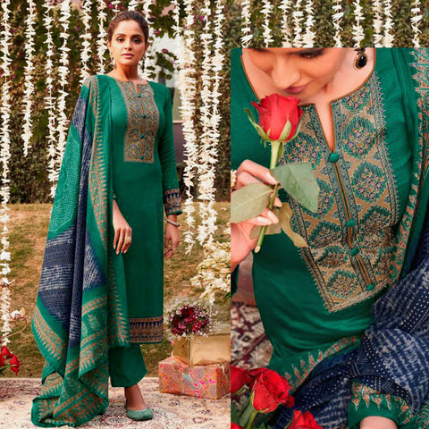 PEACOCK GREEN KASHMIRI EMBR SATIN COTTON UNSTITCHED SALWAR KAMEEZ SUIT NAVY BLUE BANDHINI STYLE PRINTED DUPATTA DRESS MATERIAL LADIES DEN