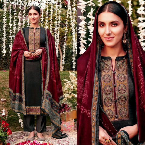 DARK SLATE GRAY KASHMIRI EMBR SATIN COTTON UNSTITCHED SALWAR KAMEEZ SUIT MAROON BANDHINI STYLE PRINTED DUPATTA DRESS MATERIAL LADIES DEN