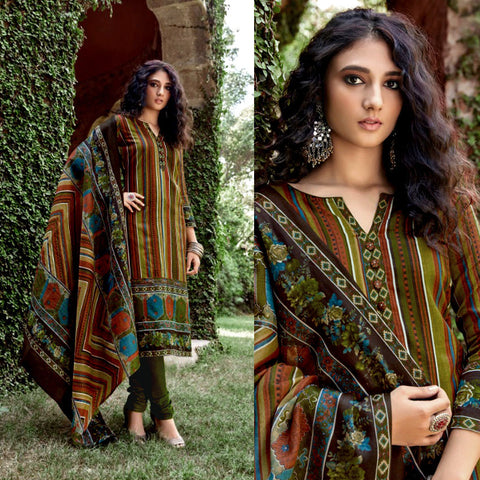 OLIVE GREEN PRINTED BLENDED COTTON UNSTITCHED SALWAR KAMEEZ SUIT DRESS MATERIAL LADIES DEN