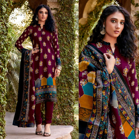 WINE PRINTED BLENDED COTTON UNSTITCHED SALWAR KAMEEZ SUIT DRESS MATERIAL LADIES DEN