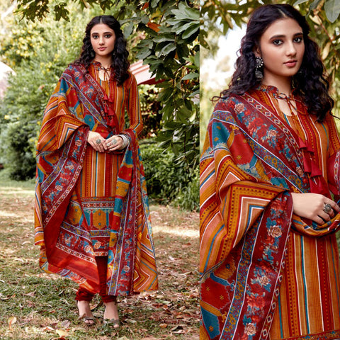 SAFFRON YELLOW-RUSTY ORANGE PRINTED BLENDED COTTON UNSTITCHED SALWAR KAMEEZ SUIT DRESS MATERIAL LADIES DEN