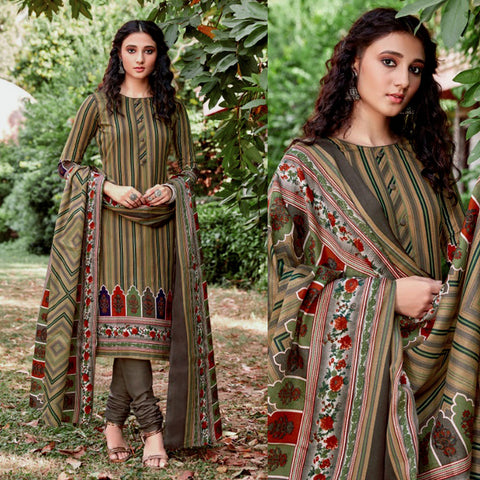 LIGHT KHAKI-MOUSE GRAY PRINTED BLENDED COTTON UNSTITCHED SALWAR KAMEEZ SUIT DRESS MATERIAL LADIES DEN