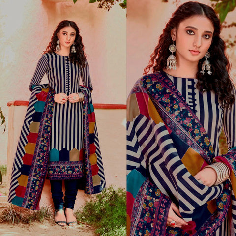 LIGHT GRAY-NIGHT BLUE PRINTED BLENDED COTTON UNSTITCHED SALWAR KAMEEZ SUIT DRESS MATERIAL LADIES DEN