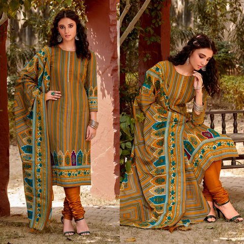 SAFFRON YELLOW-OLIVE GREEN PRINTED BLENDED COTTON UNSTITCHED SALWAR KAMEEZ SUIT DRESS MATERIAL LADIES DEN