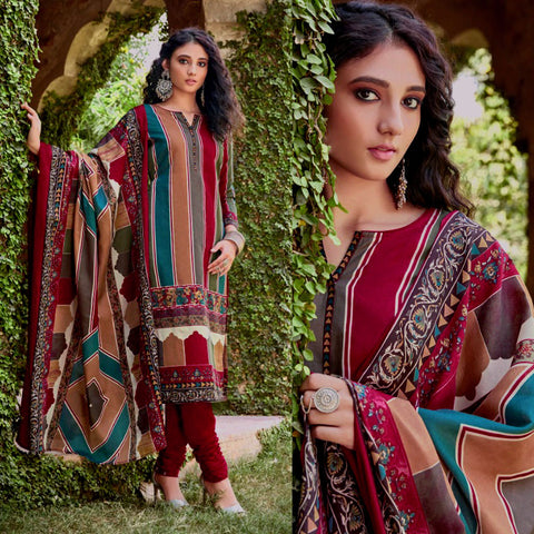 VIOLET RED PRINTED BLENDED COTTON UNSTITCHED SALWAR KAMEEZ SUIT DRESS MATERIAL LADIES DEN