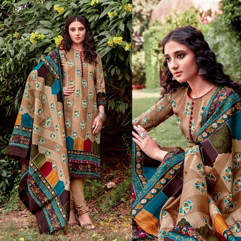 LIGHT-DARK KHAKI PRINTED BLENDED COTTON UNSTITCHED SALWAR KAMEEZ SUIT DRESS MATERIAL LADIES DEN