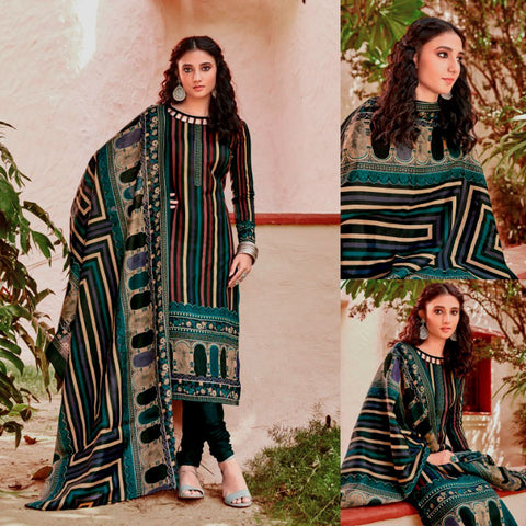 NIGHT GREEN PRINTED BLENDED COTTON UNSTITCHED SALWAR KAMEEZ SUIT DRESS MATERIAL LADIES DEN