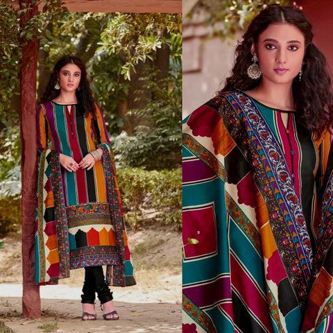MULTICOLOR-BLACK PRINTED BLENDED COTTON UNSTITCHED SALWAR KAMEEZ SUIT DRESS MATERIAL LADIES DEN
