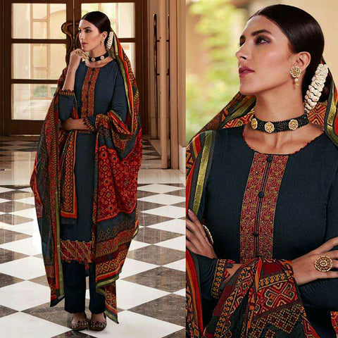 DARK SLATE GRAY PATOLA STYLE PRINTED & EMBR SATIN COTTON UNSTITCHED SALWAR KAMEEZ SUIT DRESS MATERIAL LADIES DEN