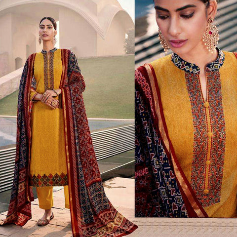 MUSTARD YELLOW PATOLA STYLE PRINTED & EMBR SATIN COTTON UNSTITCHED SALWAR KAMEEZ SUIT DRESS MATERIAL LADIES DEN