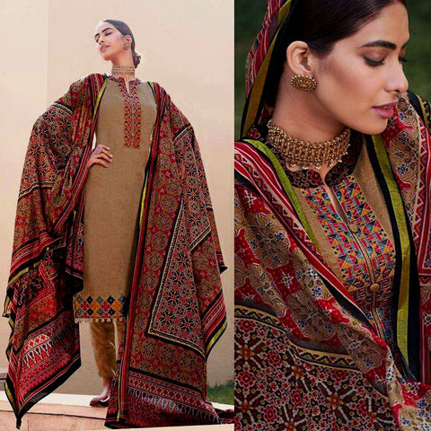 KHAKI BROWN PATOLA STYLE PRINTED & EMBR SATIN COTTON UNSTITCHED SALWAR KAMEEZ SUIT DRESS MATERIAL LADIES DEN