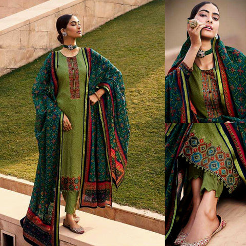 APPLE GREEN PATOLA STYLE PRINTED & EMBR SATIN COTTON UNSTITCHED SALWAR KAMEEZ SUIT DRESS MATERIAL LADIES DEN