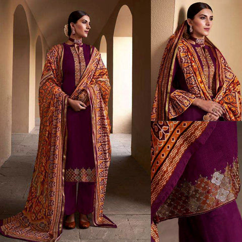 DARK WINE PATOLA STYLE PRINTED & EMBR SATIN COTTON UNSTITCHED SALWAR KAMEEZ SUIT DRESS MATERIAL LADIES DEN
