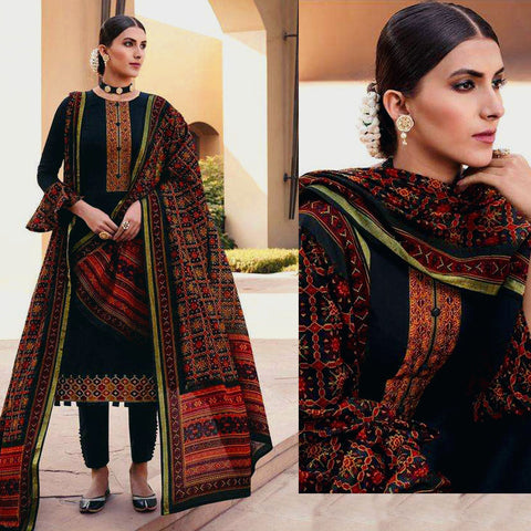 BLACK PATOLA STYLE PRINTED & EMBR SATIN COTTON UNSTITCHED SALWAR KAMEEZ SUIT DRESS MATERIAL LADIES DEN