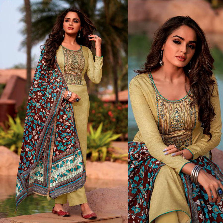 BEIGE KASHMIRI STYLE EMBR & PRINTED SATIN COTTON UNSTITCHED SALWAR KAMEEZ SUIT DARK BROWN KALAMKARI DUPATTA DRESS MATERIAL LADIES DEN
