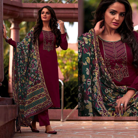 DARK MAROON KASHMIRI STYLE EMBR & PRINTED SATIN COTTON UNSTITCHED SALWAR KAMEEZ SUIT DARK GREEN KALAMKARI DUPATTA DRESS MATERIAL LADIES DEN