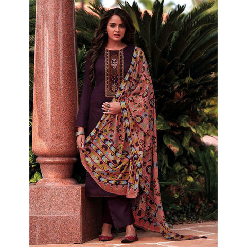 DARK WINE KASHMIRI STYLE EMBR & PRINTED SATIN COTTON UNSTITCHED SALWAR KAMEEZ SUIT SALMON PINK KALAMKARI DUPATTA DRESS MATERIAL LADIES DEN