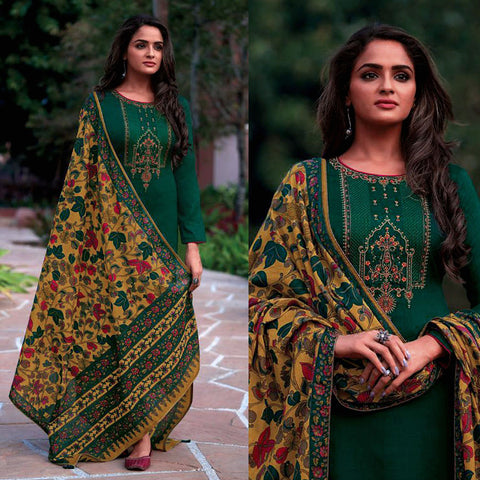 DARK GREEN KASHMIRI STYLE EMBR & PRINTED SATIN COTTON UNSTITCHED SALWAR KAMEEZ SUIT DULL YELLOW KALAMKARI DUPATTA DRESS MATERIAL LADIES DEN