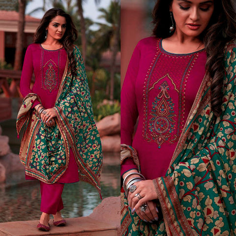 DEEP PINK KASHMIRI STYLE EMBR & PRINTED SATIN COTTON UNSTITCHED SALWAR KAMEEZ SUIT GREEN KALAMKARI DUPATTA DRESS MATERIAL LADIES DEN