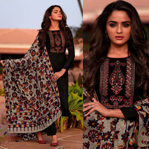 BLACK KASHMIRI STYLE EMBR & PRINTED SATIN COTTON UNSTITCHED SALWAR KAMEEZ SUIT DULL GRAY KALAMKARI DUPATTA DRESS MATERIAL LADIES DEN