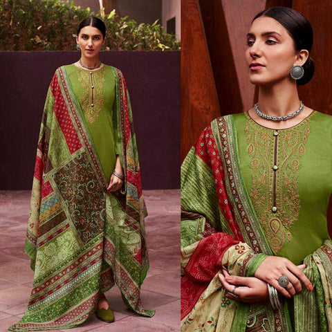 PARROT GREEN KASHMIRI STYLE EMBR SATIN COTTON UNSTITCHED SALWAR KAMEEZ SUIT PATCHWORK STYLE PRINTED DUPATTA DRESS MATERIAL LADIES DEN