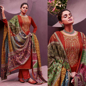 RUSTY BROWN KASHMIRI STYLE EMBR SATIN COTTON UNSTITCHED SALWAR KAMEEZ SUIT PATCHWORK STYLE PRINTED DUPATTA DRESS MATERIAL LADIES DEN