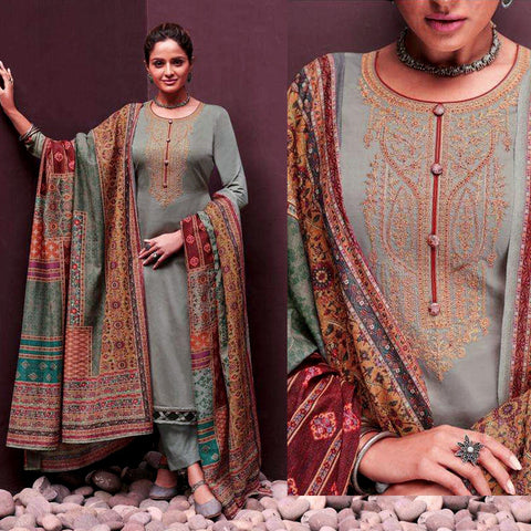 GRAY KASHMIRI STYLE EMBR SATIN COTTON UNSTITCHED SALWAR KAMEEZ SUIT PATCHWORK STYLE PRINTED DUPATTA DRESS MATERIAL LADIES DEN