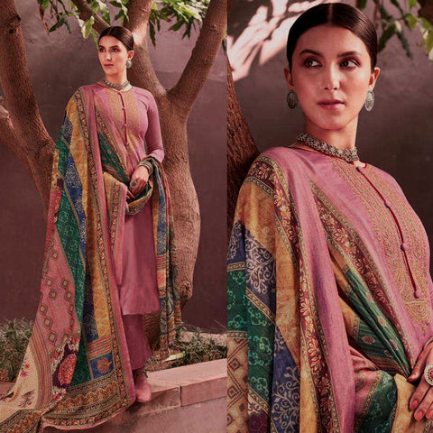 PALE VIOLET RED KASHMIRI STYLE EMBR SATIN COTTON UNSTITCHED SALWAR KAMEEZ SUIT PATCHWORK STYLE PRINTED DUPATTA DRESS MATERIAL LADIES DEN