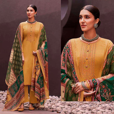 GOLDEN YELLOW KASHMIRI STYLE EMBR SATIN COTTON UNSTITCHED SALWAR KAMEEZ SUIT PATCHWORK STYLE PRINTED DUPATTA DRESS MATERIAL LADIES DEN