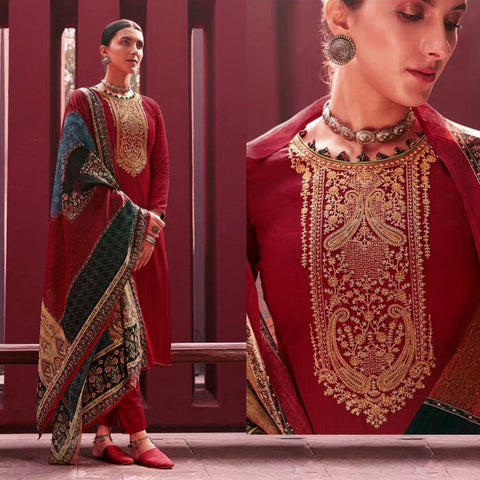 MAROON RED KASHMIRI STYLE EMBR SATIN COTTON UNSTITCHED SALWAR KAMEEZ SUIT PATCHWORK STYLE PRINTED DUPATTA DRESS MATERIAL LADIES DEN