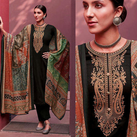 BLACK KASHMIRI STYLE EMBR SATIN COTTON UNSTITCHED SALWAR KAMEEZ SUIT PATCHWORK STYLE PRINTED DUPATTA DRESS MATERIAL LADIES DEN