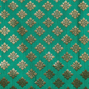 EMERALD GREEN BANARASI BROCADE SILK CUSTOM STITCHED KAMEEZ - KURTI - KURTA UP TO READY SIZE 60 (stitching included) LADIES DEN
