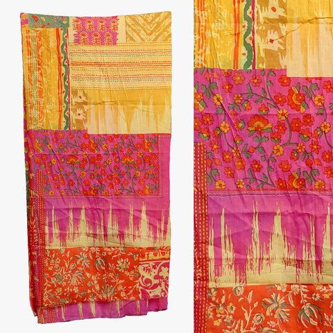 YELLOW-HOT PINK PRINTED COTTON CUSTOM STITCHED KAMEEZ - KURTI - KURTA UP TO READY SIZE 60 (stitching included) LADIES DEN
