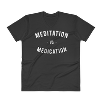 MEDITATION- UNISEX V-NECK SHIRT- BLACK (#AFFIRMATION SERIES)