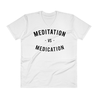 MEDITATION- UNISEX V-NECK SHIRT- WHITE (#AFFIRMATION SERIES)