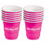 Girls Night Out! Bachelorette Plastic Shot Glasses Pink Set Of 12