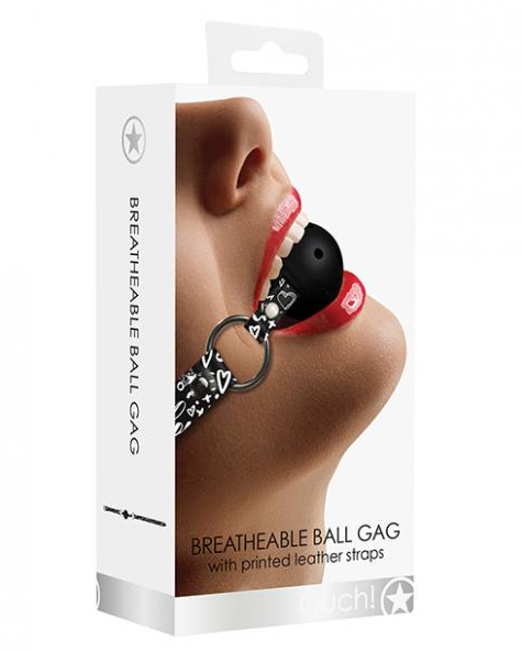 Shots Ouch Love Street Art Fashion Printed Breathable Ball Gag - Black