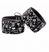 Printed Handcuffs Love Street Art Fashion Black