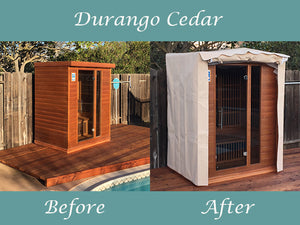 Durango Sauna Outdoors with Custom Canvas Cover