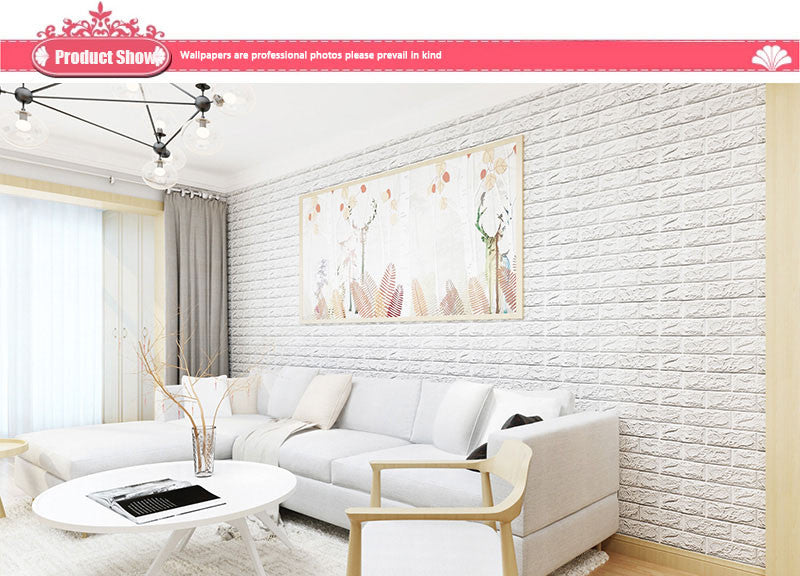DIY Self Adhensive 3D Brick Style Room Decor Wall Stickers