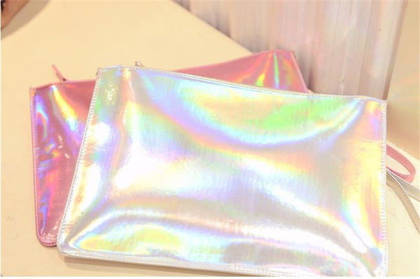 Holographic Zipper Clutch