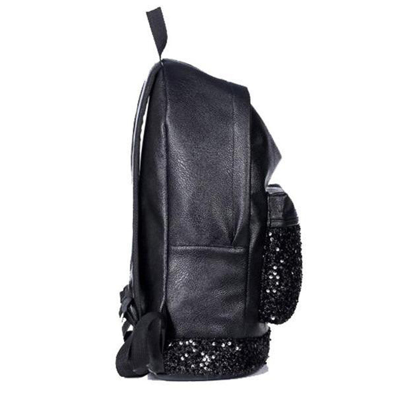 Sequin Black Leather Backpack