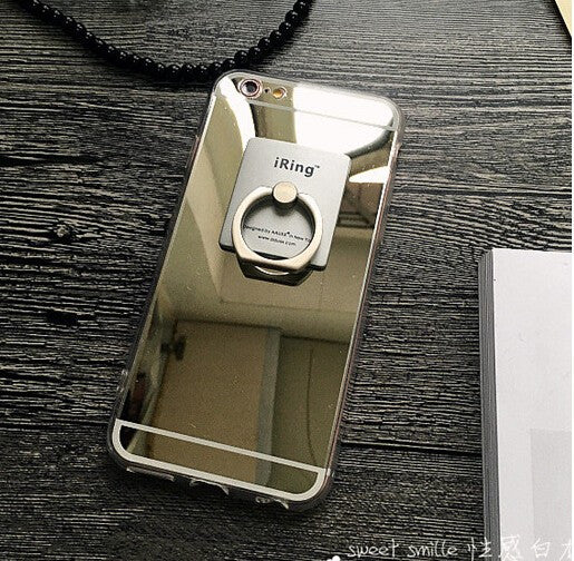 Mirror Phone Cases With Ring Holder For iPhone