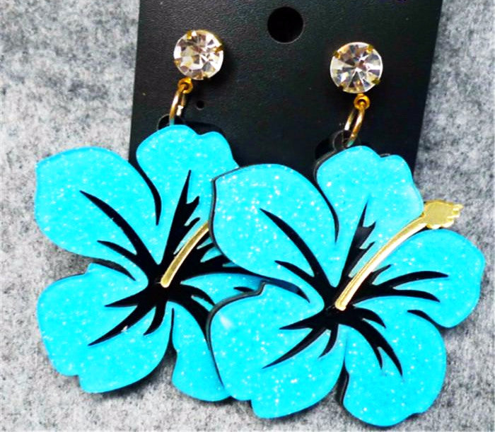 Giant Flowers Pendant Long Earrings