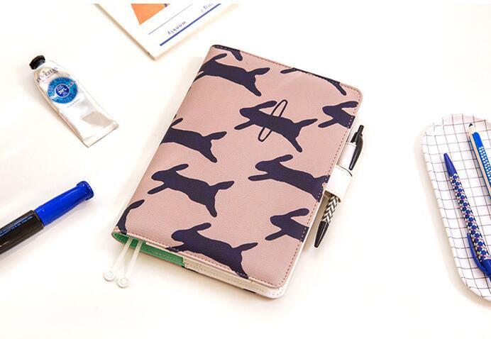 Rabbit Print Leather Cover Notebook