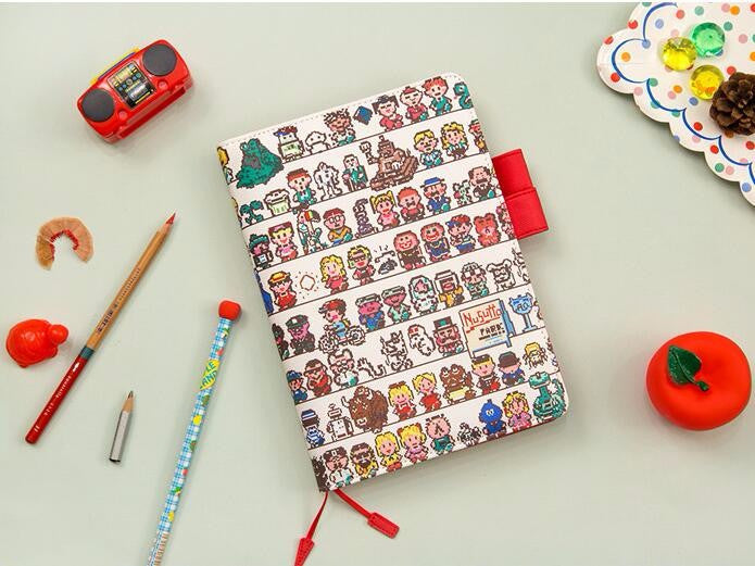 Cartoon Character Print Leather Cover Notebook
