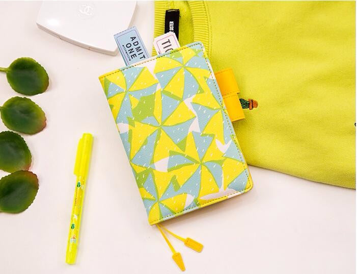 Geometric Print Leather Cover Notebook